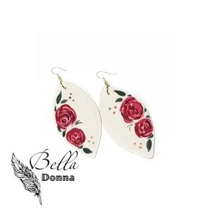 Duo Roses-Floral White Earrings